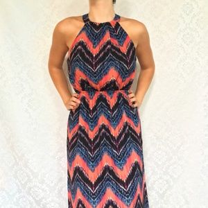 Blue Coral Chevron Boho Halter Maxi Dress